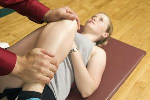 Girl with knee injury